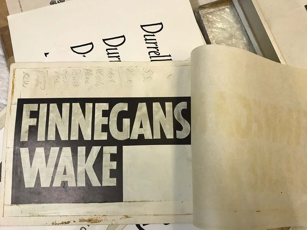 a photo of the Faber tyepface design for Finnegan's Wake