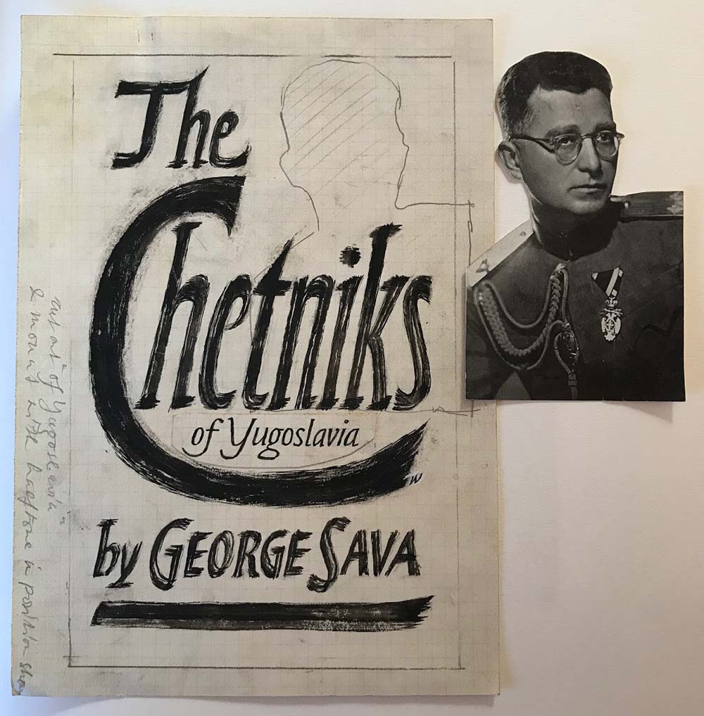 a Faber book cover design for the Chetniks by George Sava with a picture of a man in uniform