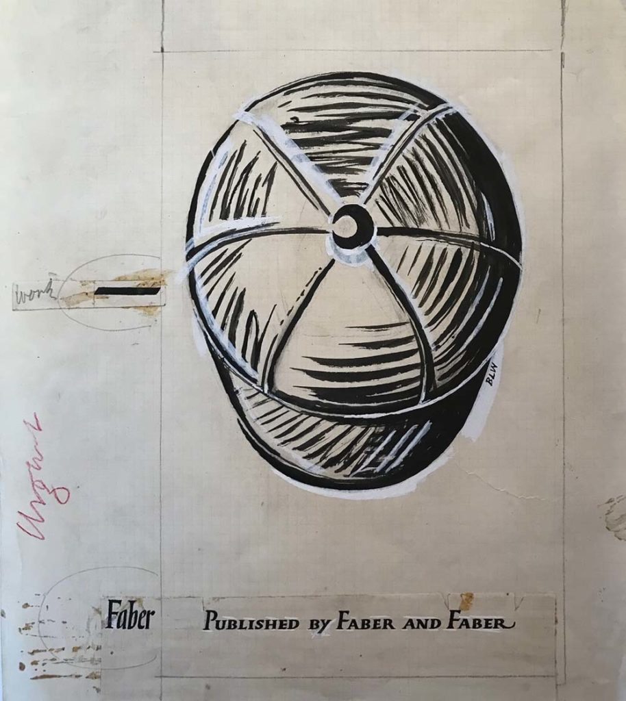 a sketch of a schoolboy styled cap as seen from above