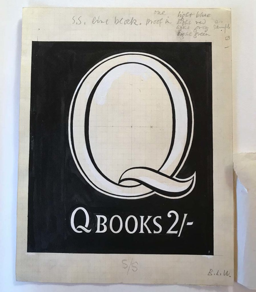 a photo of a book cover with a large Q on a black background and the words Q books 2/-
