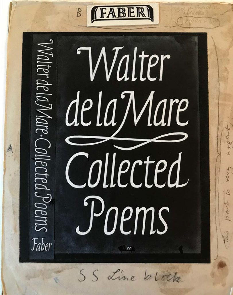 Photo of book design for Walter de la Mare Collected Poems