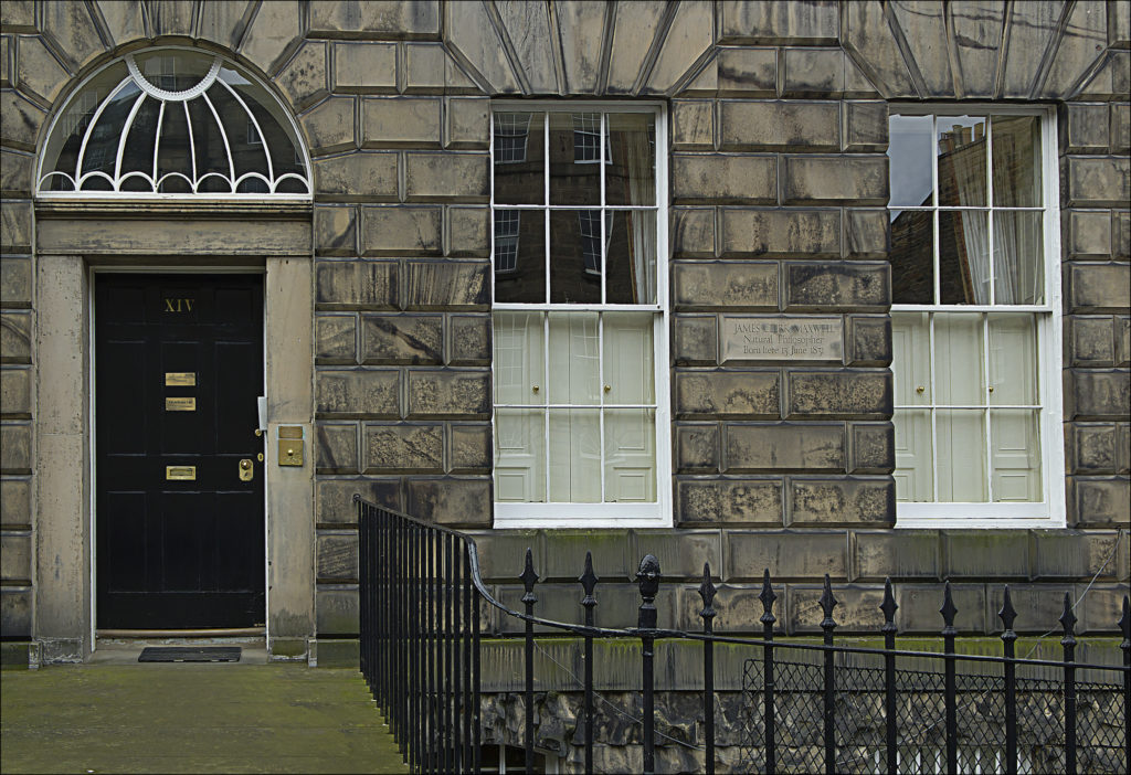 photograph of exterior of house with stone plaque reading 'JAMES CLERK MAXWELL Natural Philosopher Born here 13 June 1831'