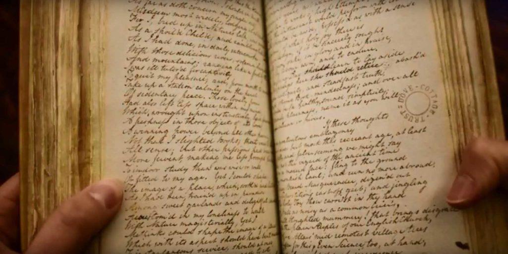 a photo of an open handwritten notebook