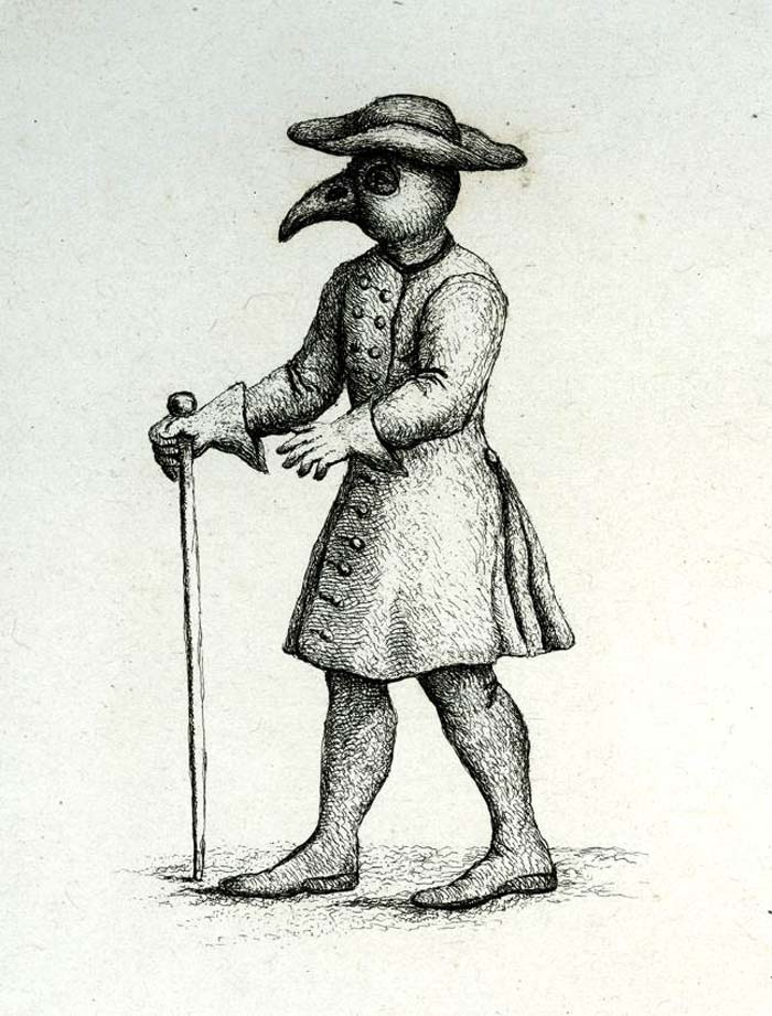 a drawking of a man waring a large beak mask under a wide brimmed hat
