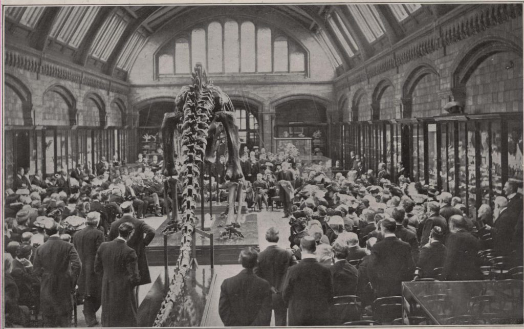a black and white photo of men in coat tails gathered around a dinosaur
