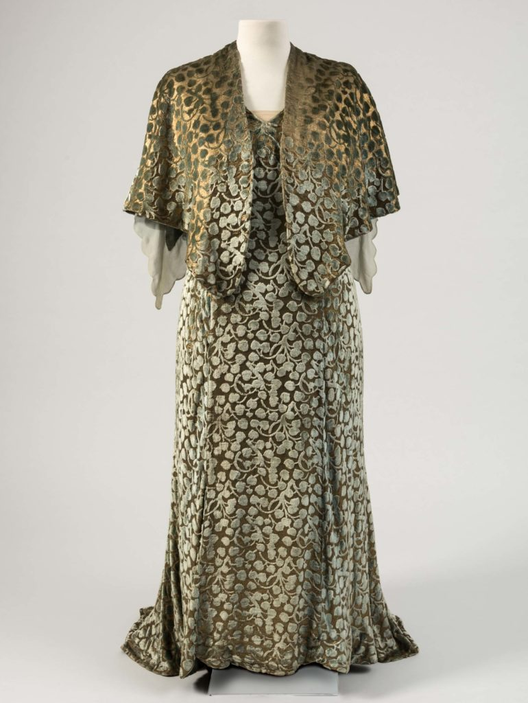 Gold lamé and ivy-leaf design cut velvet dress with jacket