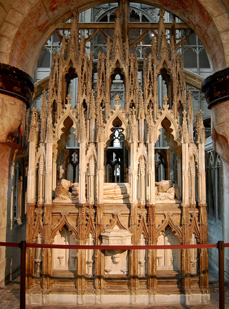 photograph of tomb of monarch within cathedral