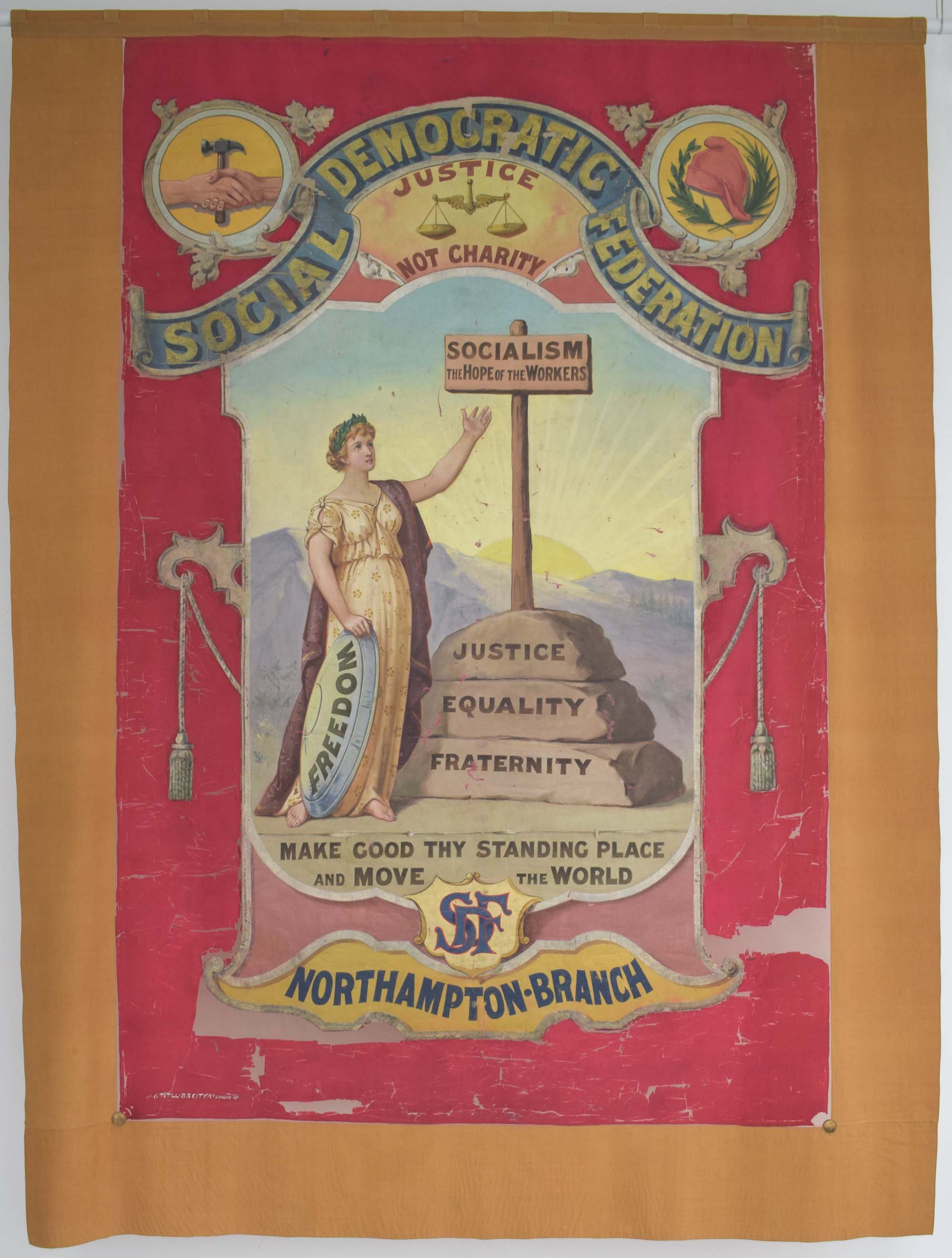 a political banner for the Social Democratic Federation with a female figure central