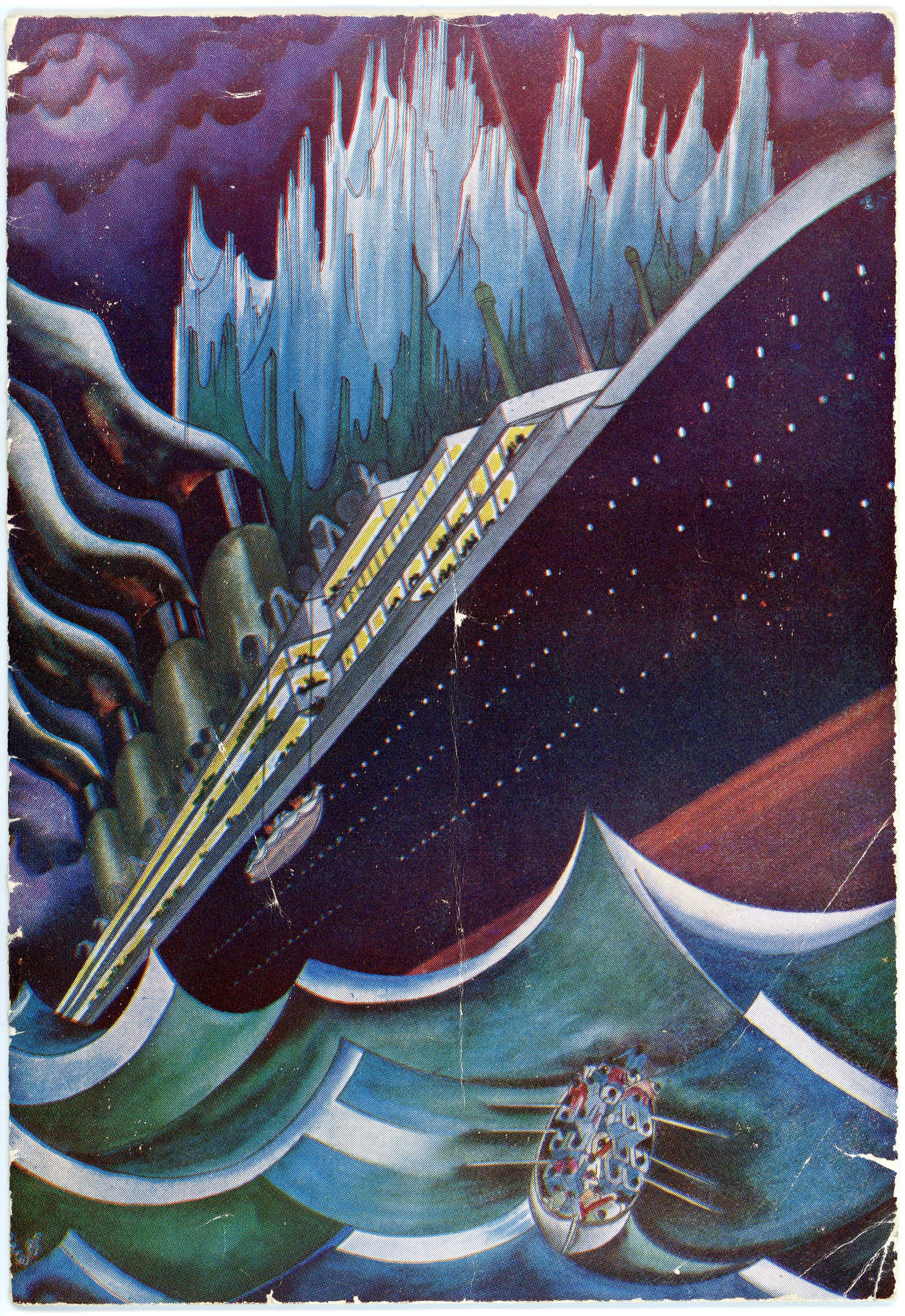 A stylised depiction of the Titanic sinking with a lifeboat escaping