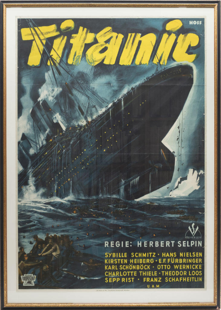 A film poster for the 1943 Nazi propaganda film about the Titanic. It shows the boat sinking.