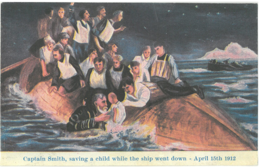 A romanticised postcard made on April 15th 1912 Captain Smith heroically saving a child.