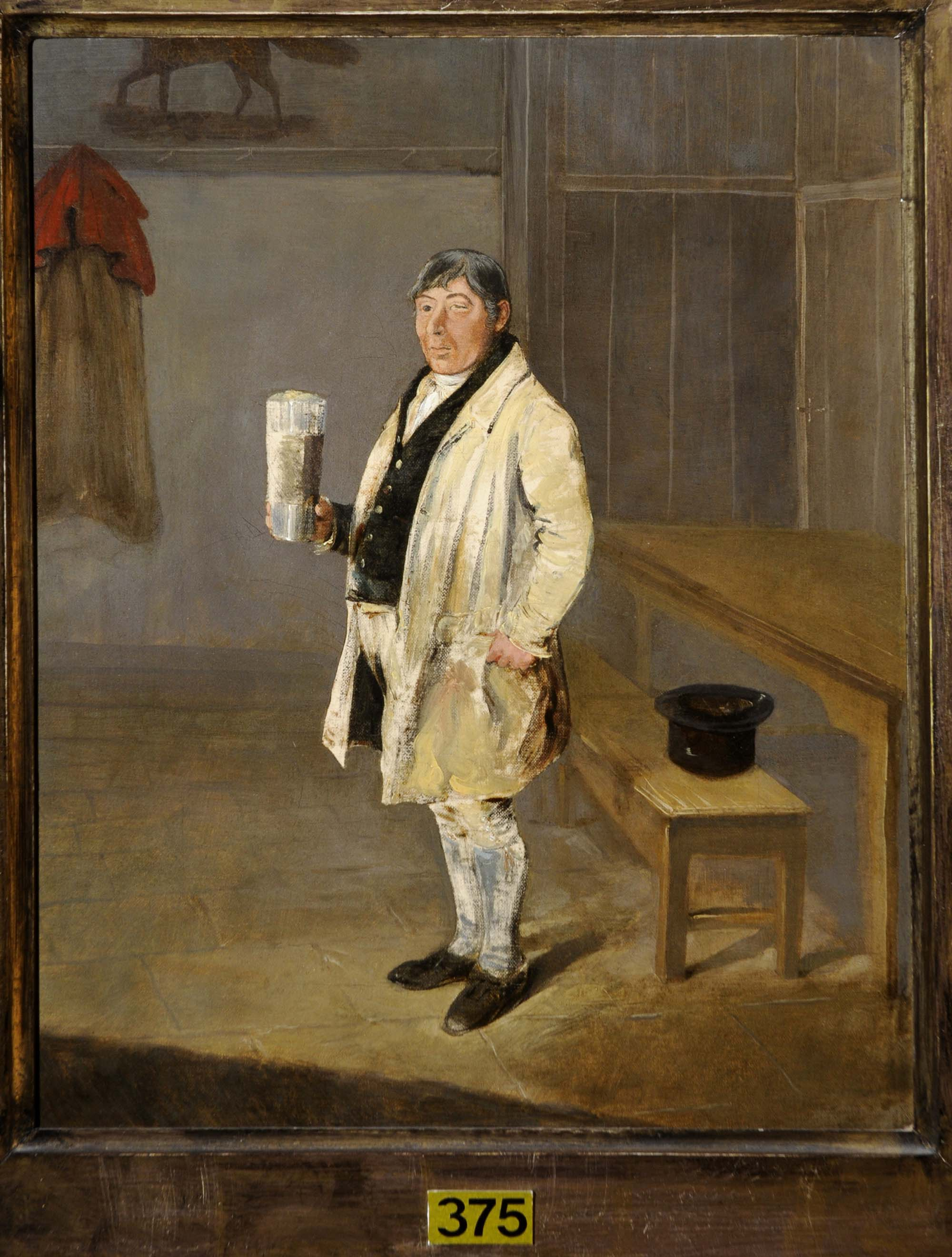 a painting of a rustic looking Georgian man holding a large beer