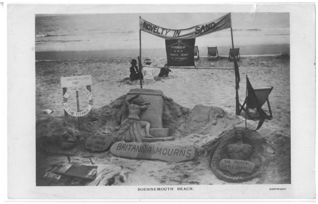 A beach memorial. It was taken shortly after the event and mourns the dead of the Titanic