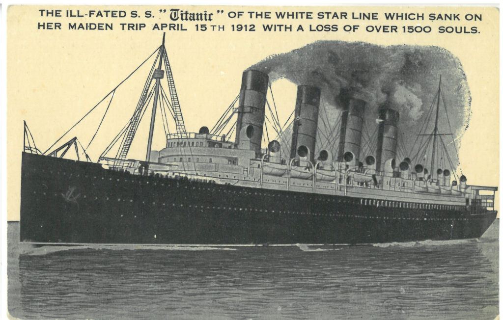 A postcard that depicts the titanic and mourns the loss of the passengers