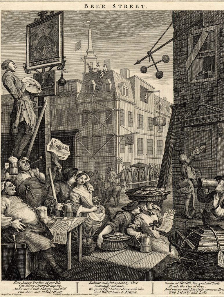 an engraving showing drunken people spilling out of a pub into the streets of Georgian London