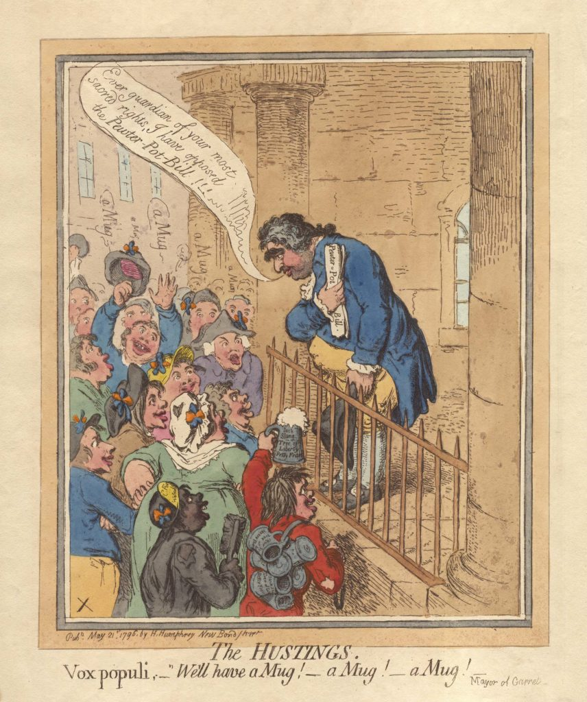 a political Georgian cartoon showing a ber swilling crowd engaging a politician at the hustings
