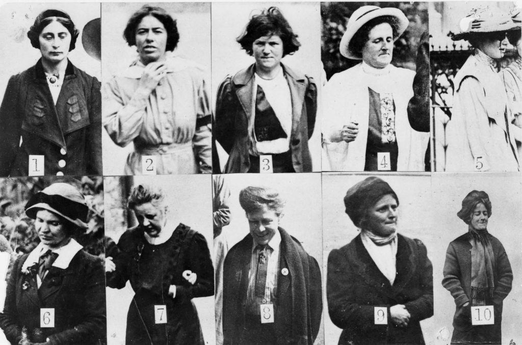 a composite photo showing Edwardian Women photographed in a yard