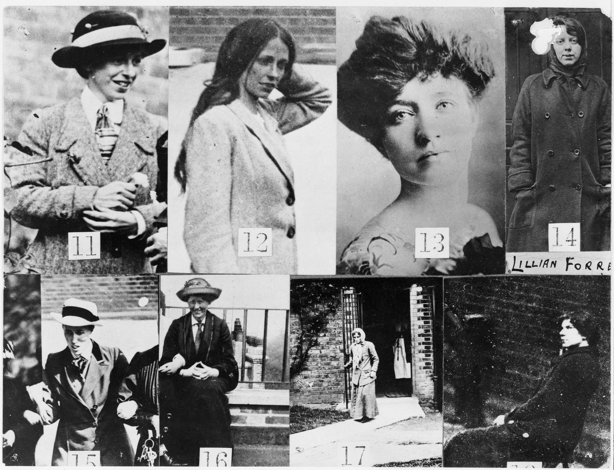 a composite black and white photo showing Edwardian Suffragettes