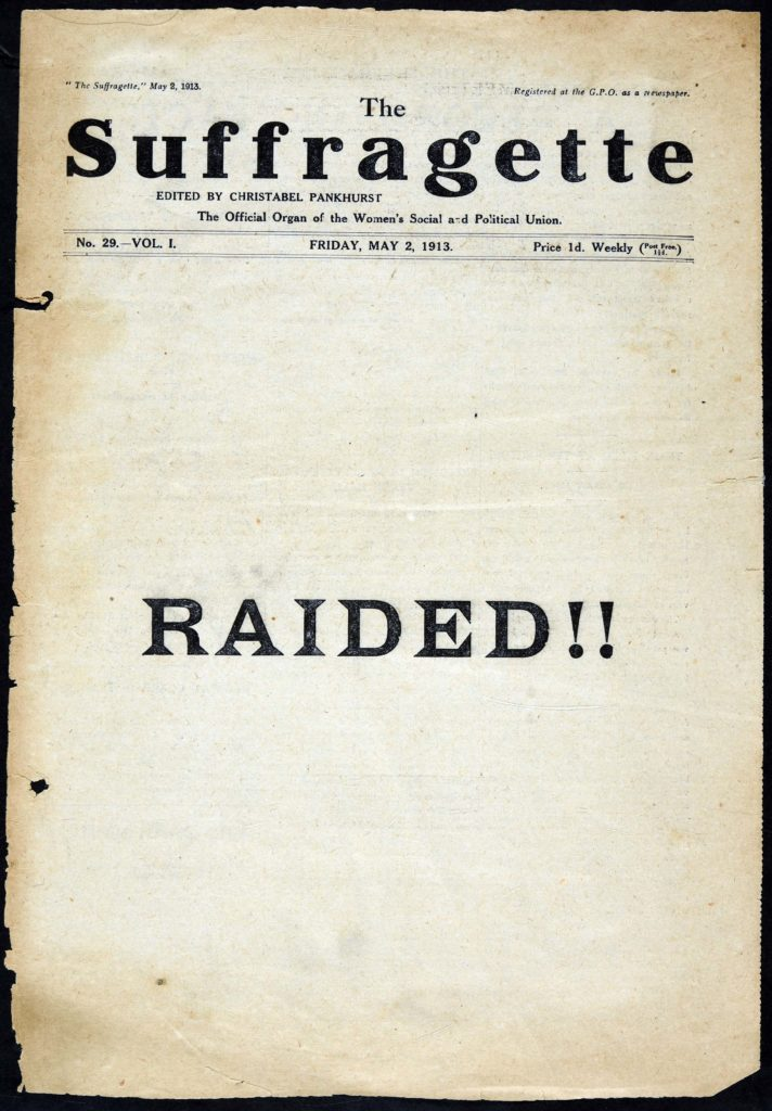 a front cover of the Suffragette - a plain white cover with the word Raided!!