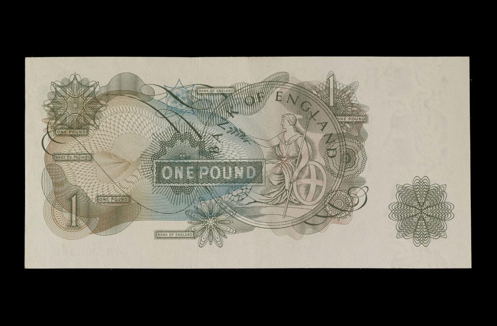 a photo of a the reverse of the design of the old £1 note