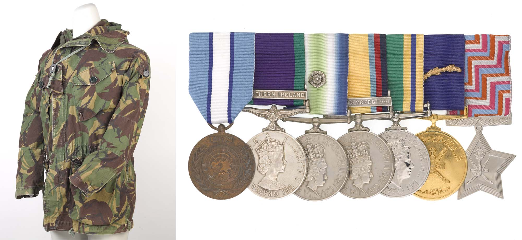 a composite photo of a camouflage jacket and a group of medals