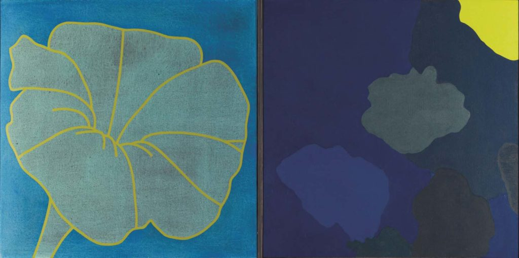a painting of a flower leaf and a lily