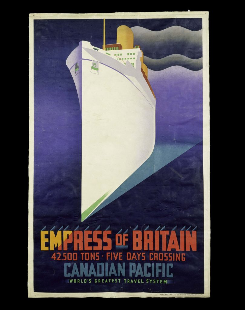 an art deco poster with a huge Ocean liner in its centre