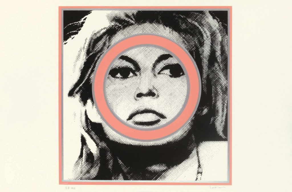 a painting featruing a photocopy style imnage of Brigitte Bardot at its centre