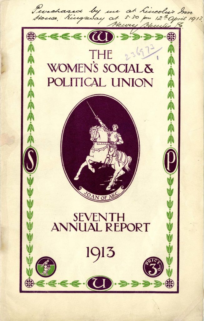 A pamphlet for the WSPU seventh annual report