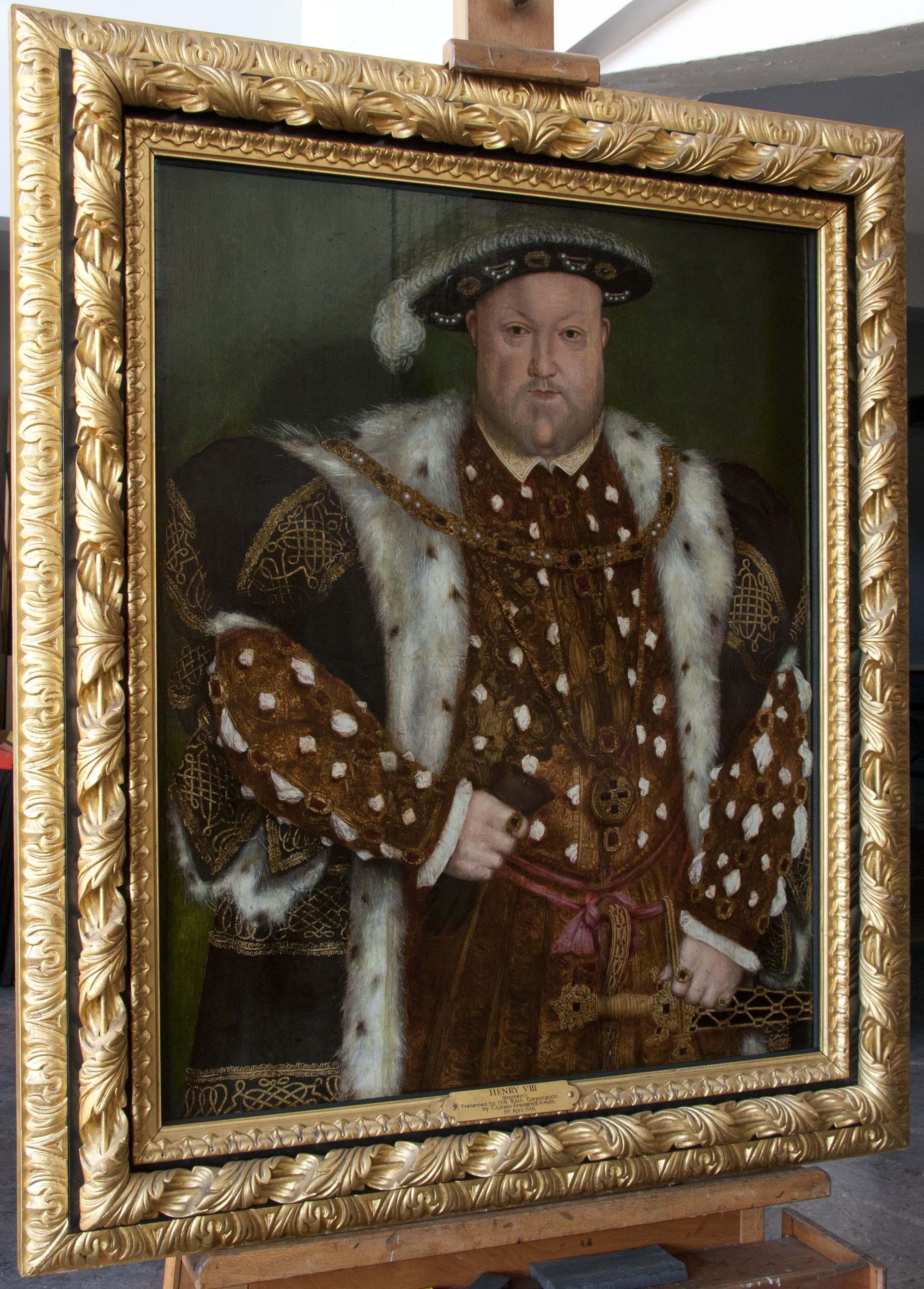a photo of a gilt framed portrait of Henry VIII