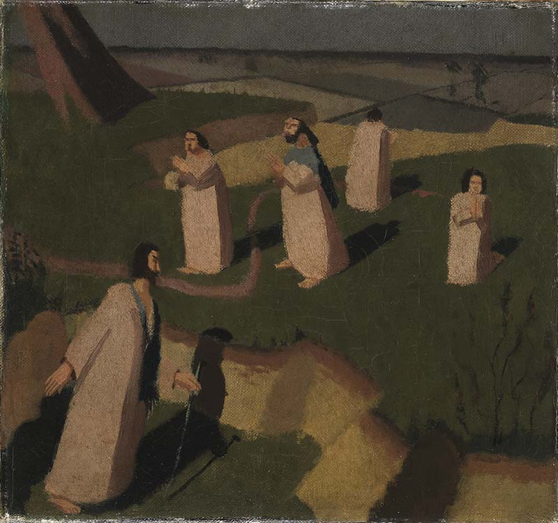 a painting of a several figures in white robesl wandering around a landscape