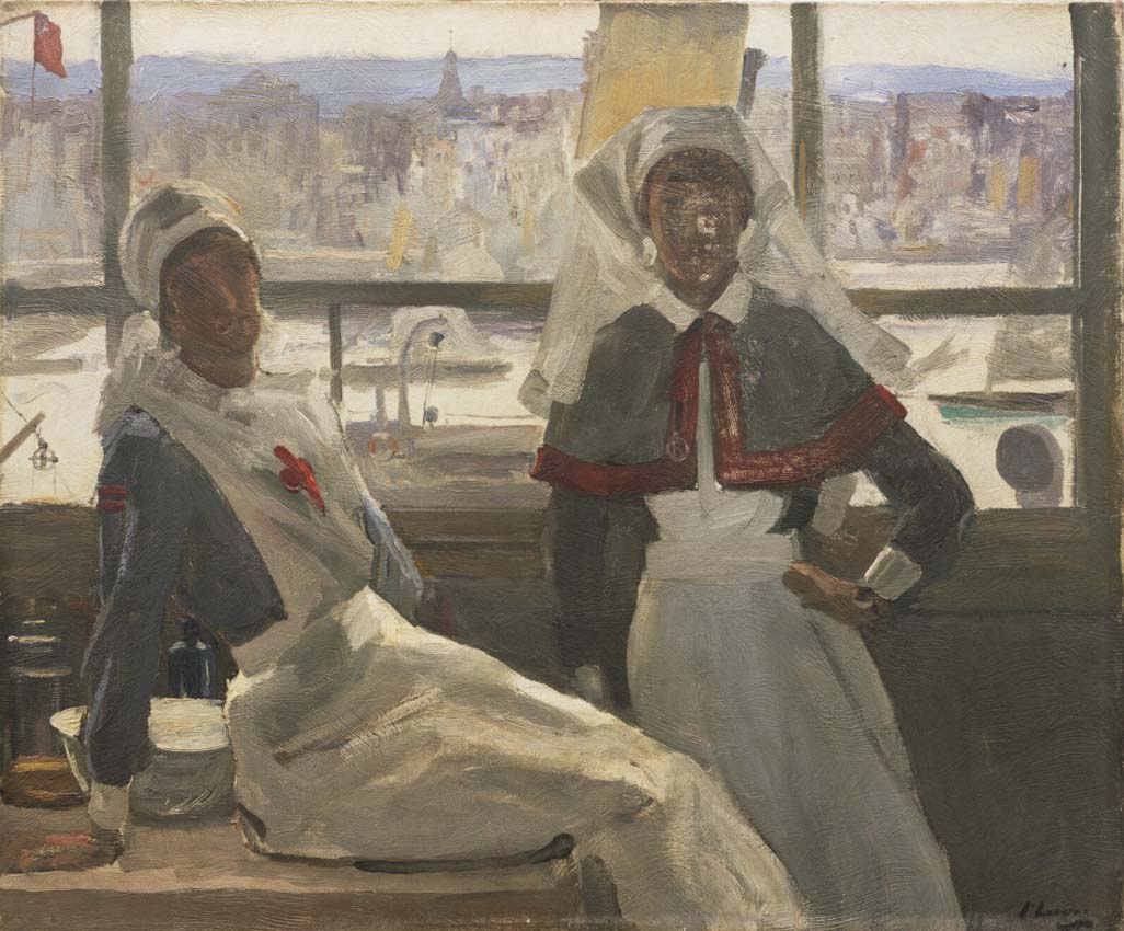 a painting of two nurses against a window
