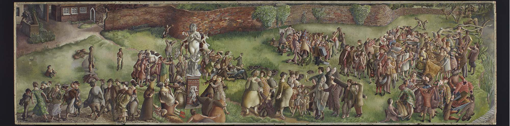 a panoramic painting showing people in a park wandering around the base of a venus statue