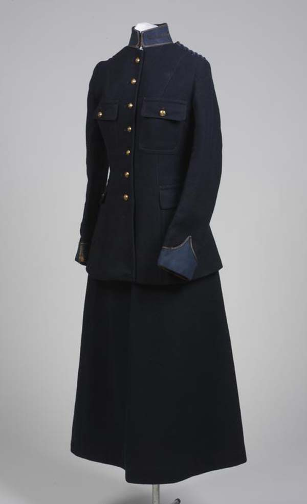 a photo of a dark serge jacket and skirt