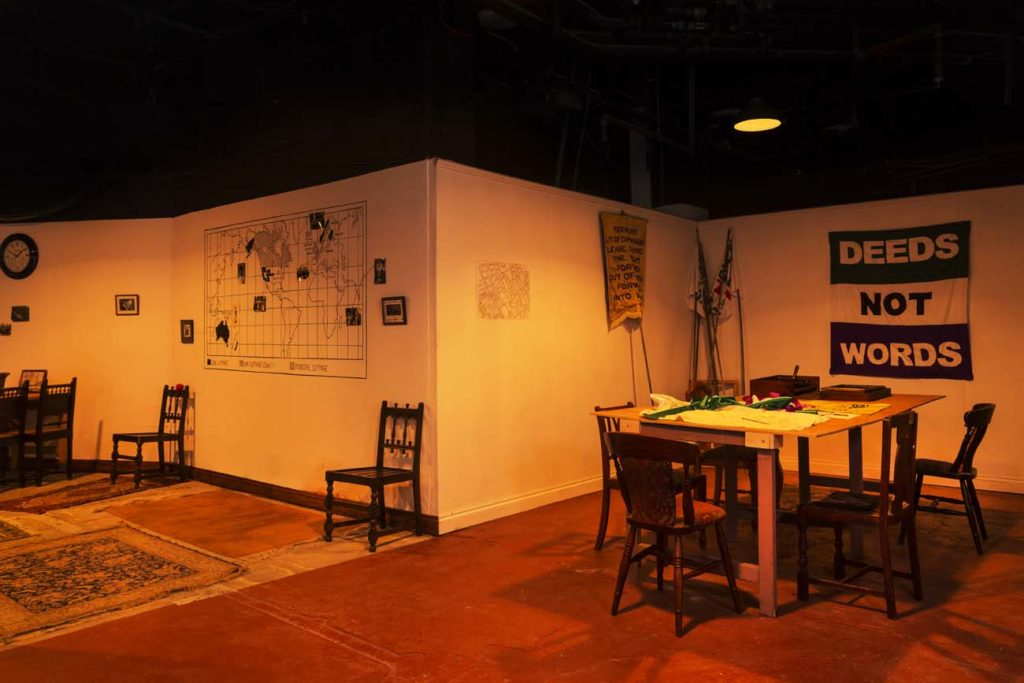 a photo of a set showing a front room