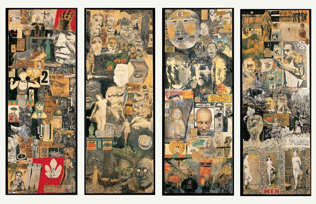 a series of four collage paintings with press clippings etc from the 1960s