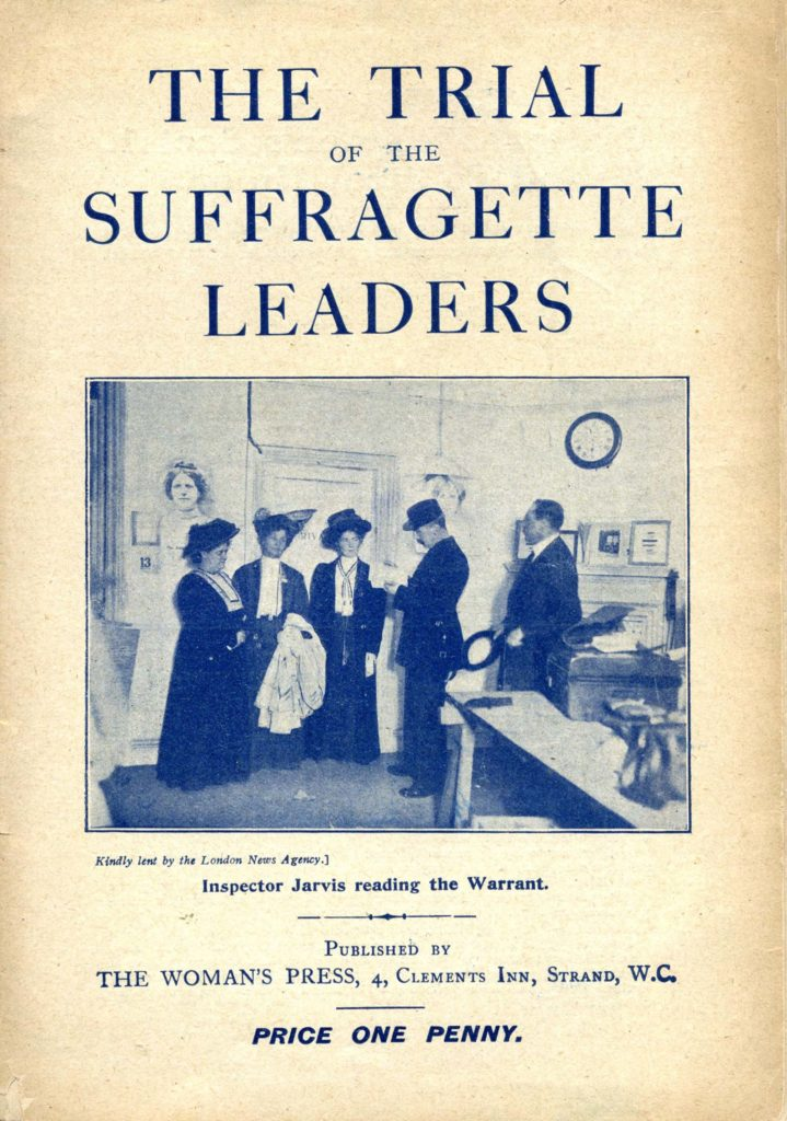 a pamphlet with a blued image of a a group of three women in a police station