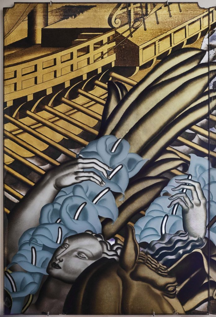 An art deco panel with a boat and woman in the foreground