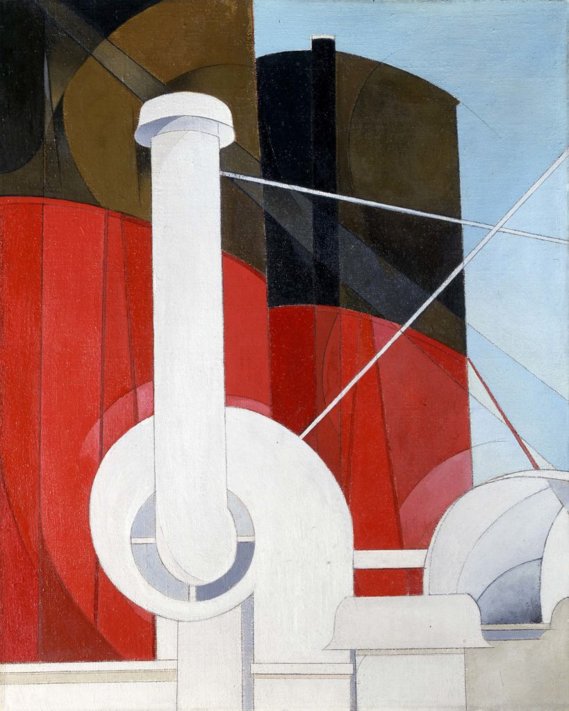 a painting of a ships funnel in red and black