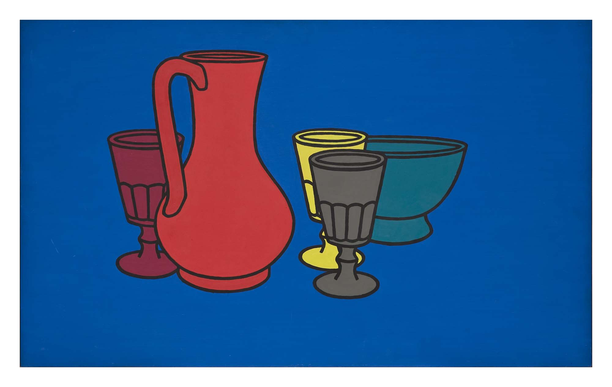 a painting of a jug and three glasses against a blue background