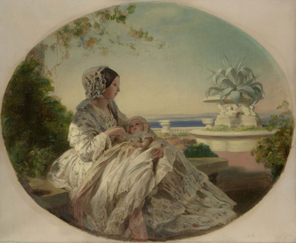 a painted portrait of a young Queen Victoria on a terrace with a baby