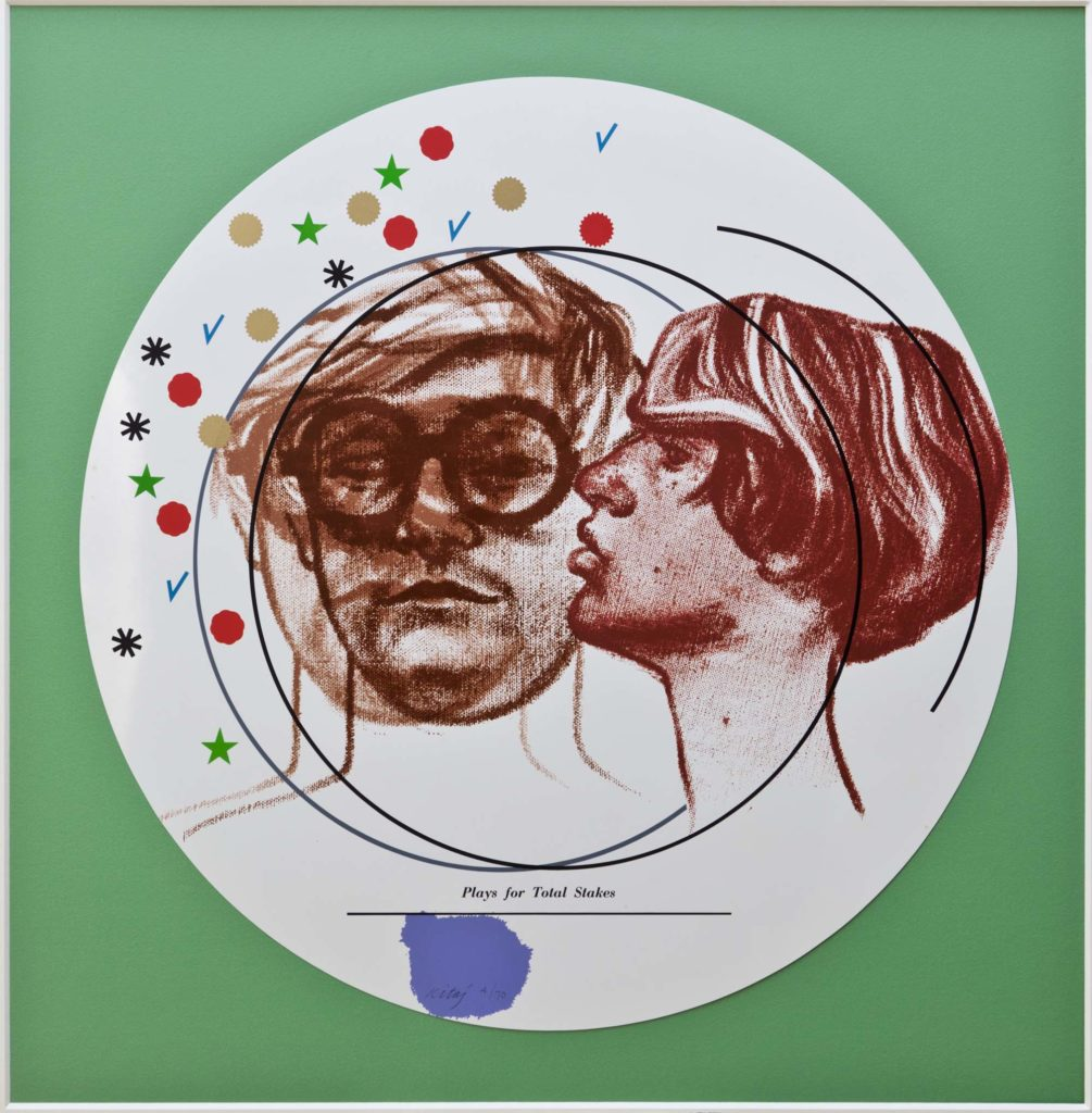 a circular painting of a man kissing another man who is wearing glasses