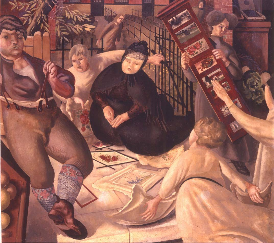 a Stanley Spencer painting showing a central figure in blackl surroiunded by the usual array of strange figures both celestial and ordinary
