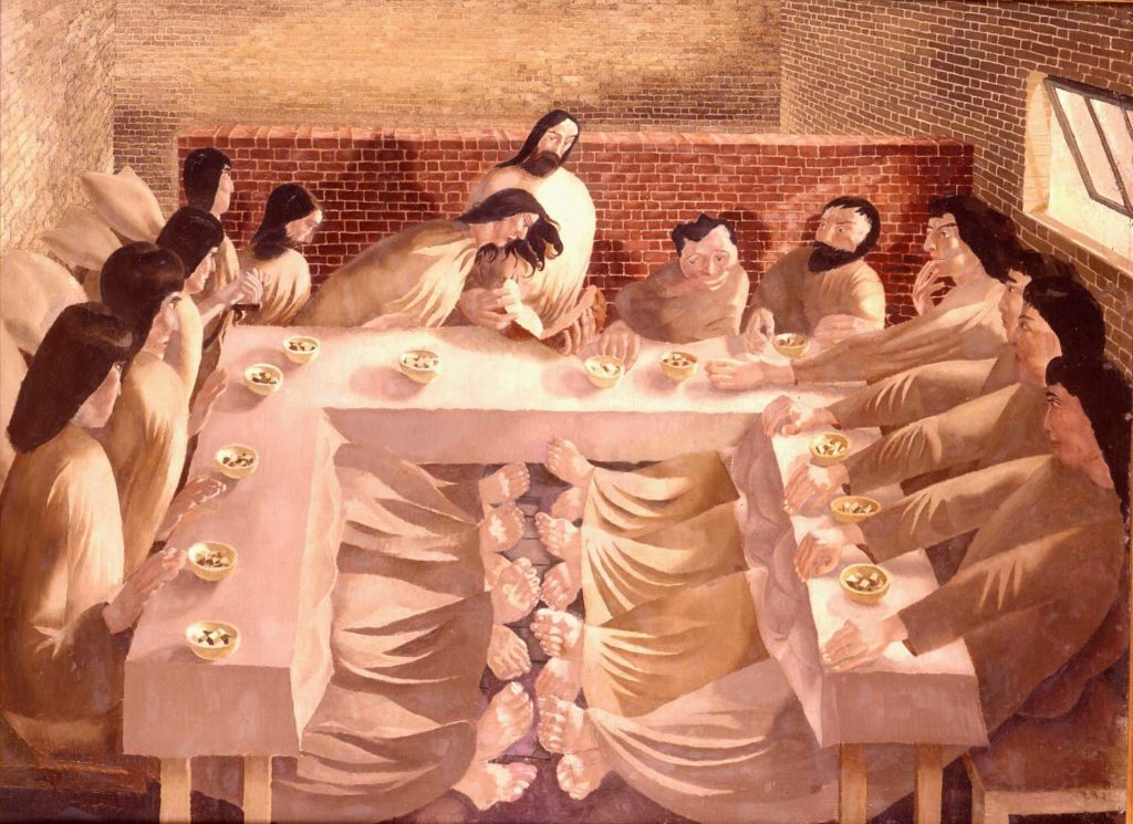 a painting of Jesus and the apostles in what look slike the interior of a brick bunker
