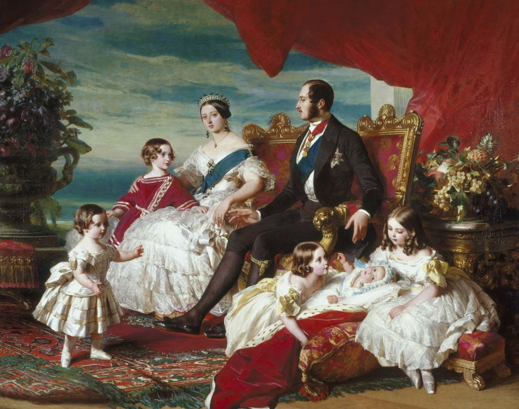 a group portrait showing Queen Victoria and Prince Albert on their thrones surrounded by their children
