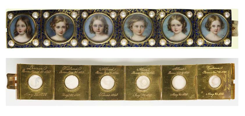 a front and back composite photo showing a bracelet with pictures of children with lockets of hair