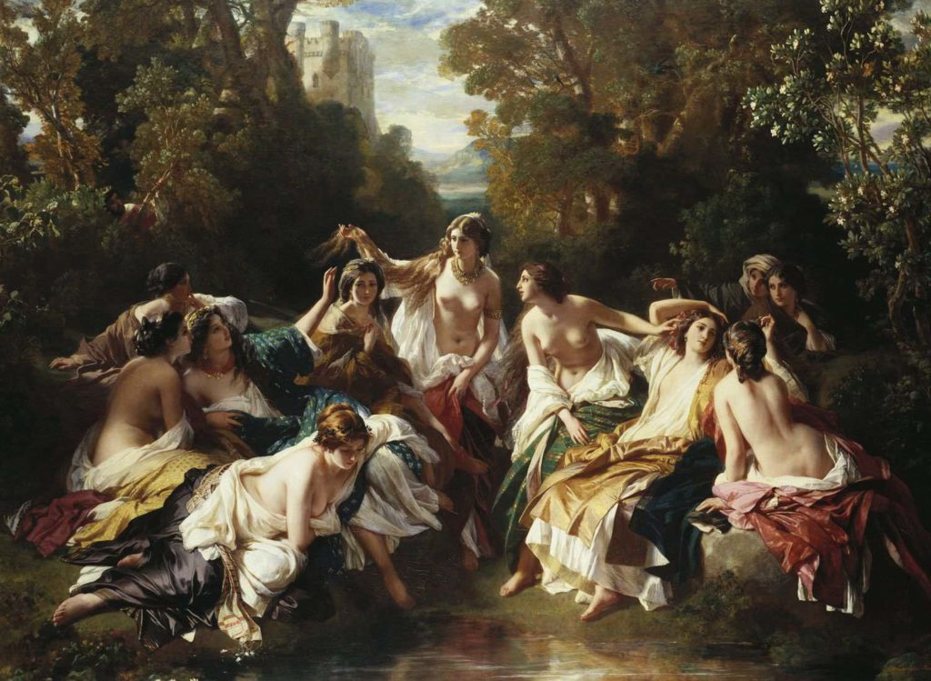 a painting of a group of semi naked nymphs in a forest clearing