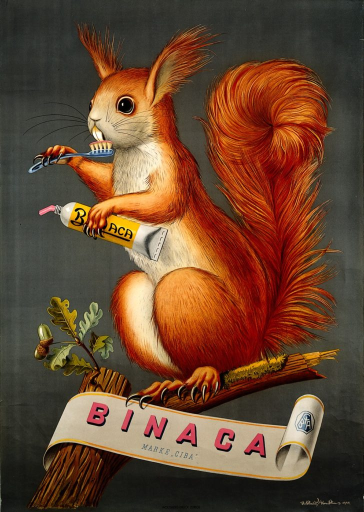 advertising poster showing painting of red squirrel brushing its teeth with pink toothepase from a yellow and white tube