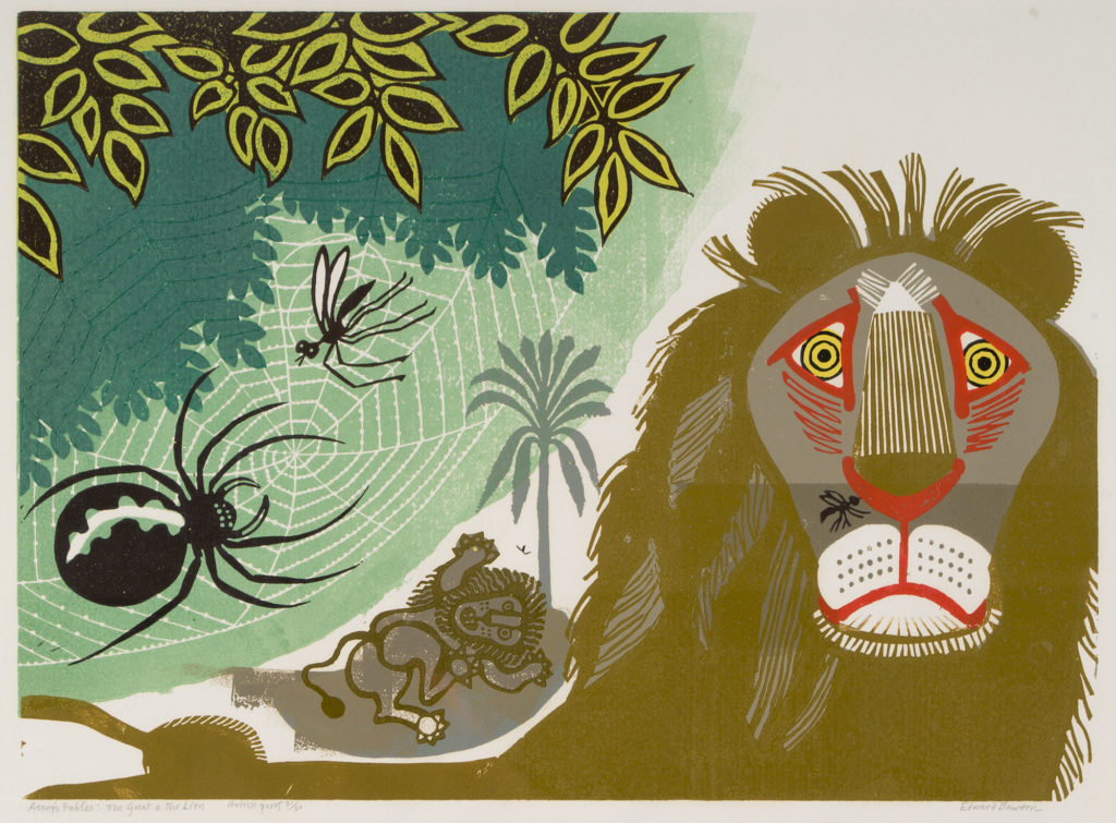 colourful linocut print of lions, spiders, flies and foliage