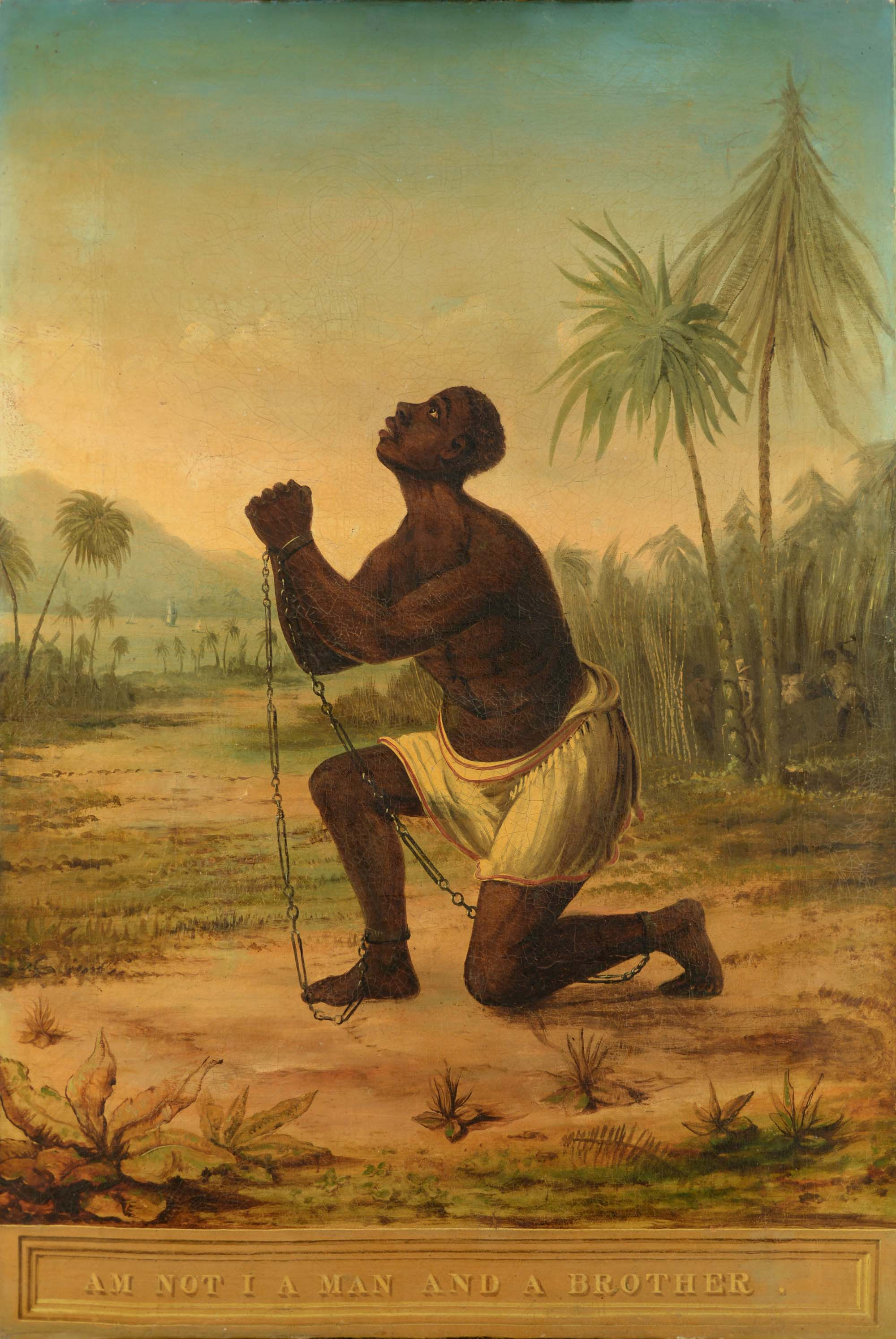 a painting depicting a shackled African man with hands clasped and head looking heavenward